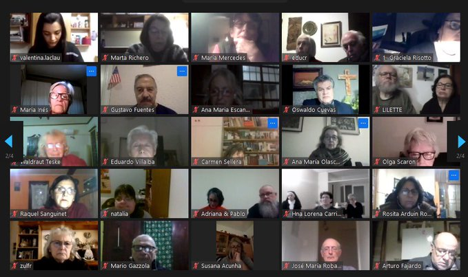 Screenshot of the virtual celebration for the  Week of Prayer for Christian Unity in Uruguay 2021