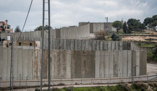 View of wall separating the community of Bethany from the mount of olives in Jerusalem