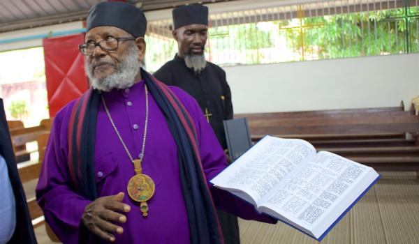 His Grace Abune Thaddaeus, Archbishop of the Ethiopian Orthodox Tewahedo Church in the Caribbean and Latin America, in Trinidad and Tobago.