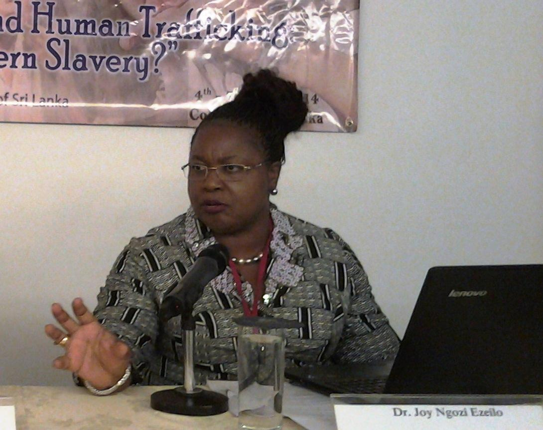 Joy Ngozi Ezeilo, UN Special Rapporteur on Trafficking in Persons, at an ecumenical consultation in Sri Lanka. © WCC/Semegnish Asfaw