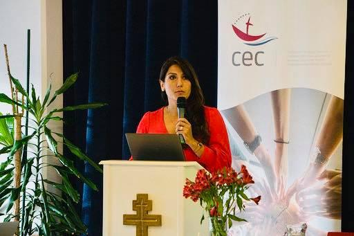 Dr Ani Ghazaryan Drissi, programme executive for the Faith and Order Commission at WCC, giving a thematic reflection on migration and ecclesiology. Photo: Charlotte Belot/CEC