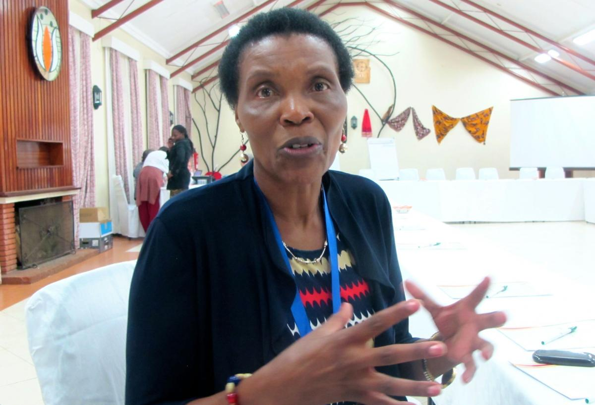 Kenyan theologian Esther Mombo at an ecumenical women's conference in Limuru.