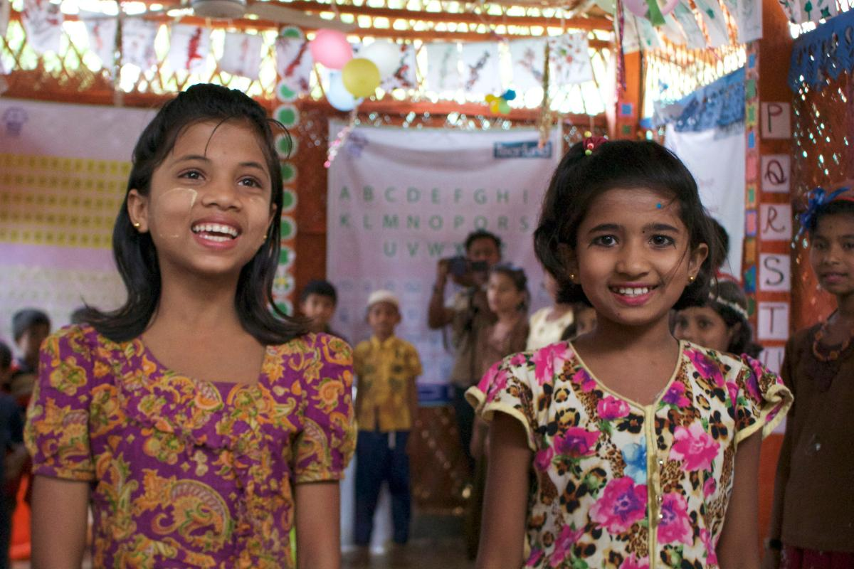 Visit to a Children Safe Space in the Rohingya camp, in Kutupalong, Cox's Bazar, Bangladesh. Photo: Marcelo Schneider/WCC