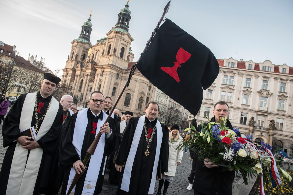 Czechoslovak Hussite Church marks 100 years, on the Old Town Square in Prague, January 2020.