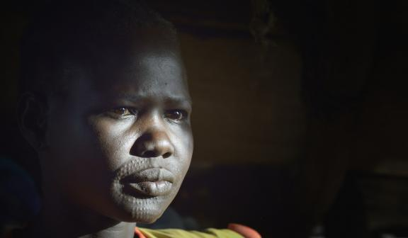 A Dinka woman displaced by fighting in South Sudan