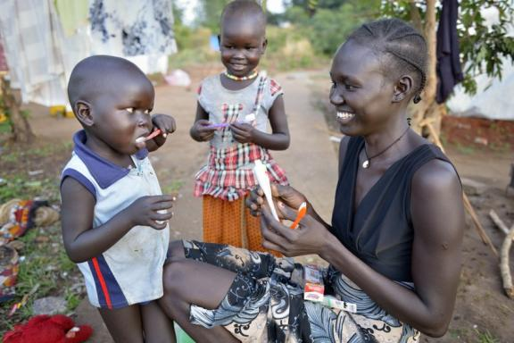 Family in camp for internally displaced persons in South Sudan