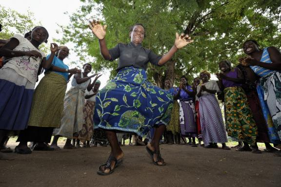 Women sing and dance a song about global climate change in Chidyamanga, a village in southern Malawi.