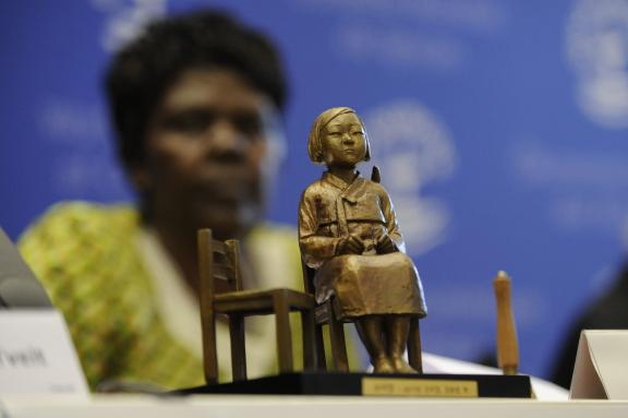 A comfort women statue offered to the World Council of Churches