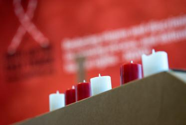 Candles at the International Interfaith Event on HIV organized by the WCC - EAA and partners in Amsterdam, the Netherlands, during the International AIDS Conference 2018.