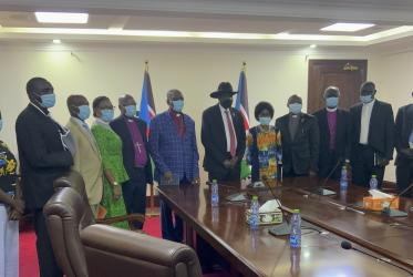 Church leaders at a meeting with the president of South Sudan