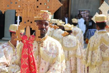 Service in St. Mary's Orthodox cathedral in Addis Ababa, Ethiopia