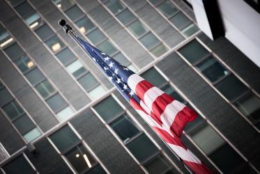 USA flag in Manhattan, New York, 2017.