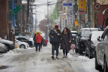 Seoul street in a winter