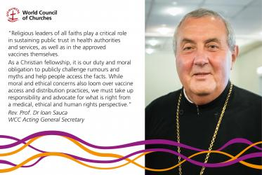 Rev. Prof. Dr Ioan Sauca with quote on vaccines