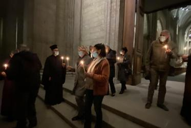 People gathered at Saint Peter's Cathedral in February 2021.