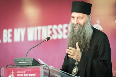 His Holiness Porfirije speaks at the Conference of European Churches assembly in Novi Sad, Serbia, 2018.