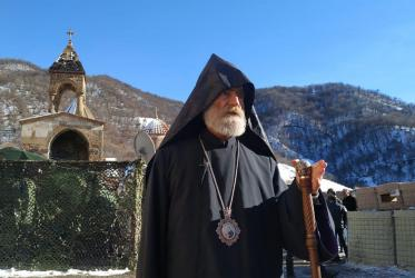 Archbishop Pargev Martirosyan in the Monastery of Dadivank