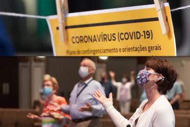 Collage of poster with Coronavirus restrictions and people praying in a church