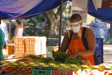 a woman wearing a face shield sells vegetables in a public market in Brazil