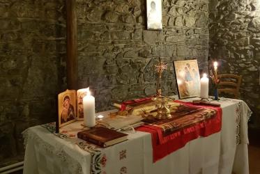 The altar of the medieval chapel of the Ecumenical Institute decorated for an Orthodox Easter midnight service, 1 May 2021. Photo: WCC