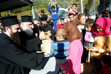 H.B Archbishop Ieronymos during one of his visits to refugee camps, Samos island, Greece, 2015, Photo: Christos Bonis/Church of Greece