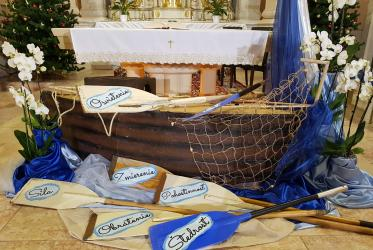 For the service broadcast on national TV, the Ursuline sisters in Trnava had decorated the altar space with a boat evoking St Paul's shipwreck in Malta. Photo: Nata Hovorkova/Ecumenical Council of Churches in Slovakia