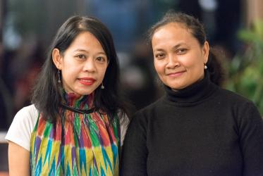 Ruth Saiya (right) and Manda Andrian (left) have completed their studies at the WCC Ecumenical Institute at Bossey, supported through the Sarah Chakko Scholarship Fund. Photo: Albin Hillert/WCC