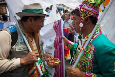 Indigenous people at COP 20 in Lima. © Lutheran World Federation/Sean Hawkey