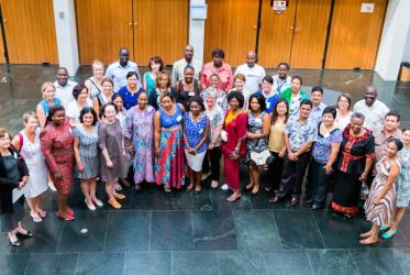 Participants in an ecumenical training session on women's human rights, at the Ecumenical Centre, Geneva. © WCC/Albin Hillert