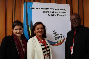 From left to right: Martina Viktorie Kopecká, WCC Central Committee member, Gloria Ulloa, WCC President for Latin America and the Caribbean and Paul Gardner, WCC Central Committee member, in Bogota. © WCC/Marcelo Schneider