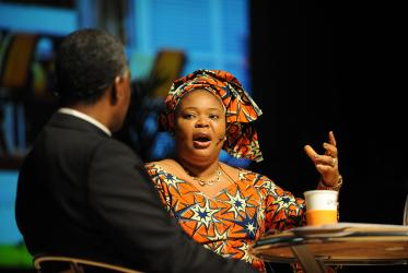 Nobel Peace Laureate Leymah Gbowee at the WCC assembly in Busan.