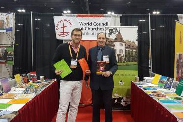 WCC booth at the The American Academy of Religion in Denver displaying new publications and study opportunities at the Ecumenical Institute in Bossey. Photo: WCC