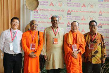 CCA General Secretary, Dr Mathews George Chunakara in the middle, surrounded by fellow interfaith panelists, representing Daosim, Hinduism, Buddhism and Islam. Photo: Jeba Singh Samuvel/CCA
