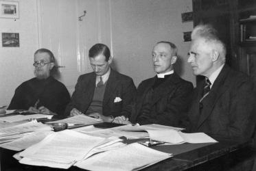 A Commission of the Study Department preparing for the WCC Assembly in Amsterdam, 1948: Georges Florovsky, Oliver Tomkins, Floyd Tomkins and Emil Brunner. Photo: WCC Archive