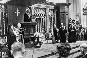 Opening service of the 1st assembly of WCC in Amsterdam, 1948. Left to right: Dr S. Germanos, Dr D.T. Niles, Dr John Mott, Dr K.H.E. Gravemeyer, Dr G.F. Fisher, Archibshop of Canterbury, Dr Marc Boegner, Dr E. Eidem.