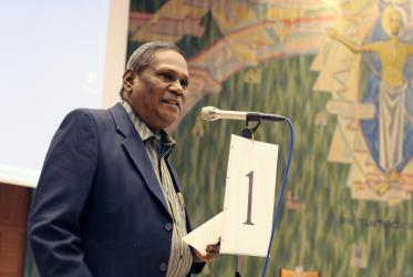 Rev. Dr Augustine G. Jeyakumar at the Lutheran World Federation Council meeting in Geneva. Photo: H.Putsman Penet/LWF