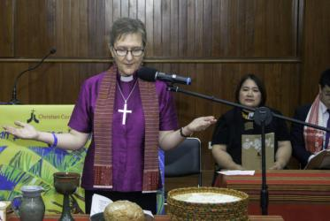 Holy Eucharistic Service at the closing of AEWA led by Bishop Genieve Blackwell from Australia. Photo: CCA