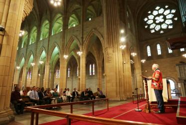 Uncle Joe Kirk, elder of the Aboriginal community welcomes the participants of the 57th CCIA meeting in Brisbane, Australia at the opening worship service in St John's Anglican Cathedral. Photo: Ivars Kupcis/WCC
