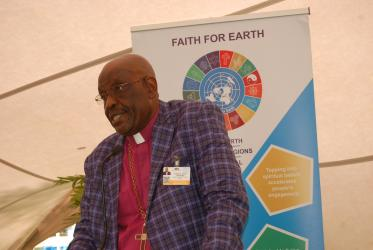 Bishop Arnold Temple, the President of the All Africa Conference of Churches (AACC), speaks on March 11 during a faith leaders side event dubbed faith for earth at the U.N Environmental Assembly in Nairobi. Photo: Fredrick Nzwili