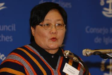 Dr Erlinda N. Senturias speaks at the WCC Central Committee meeting in 2005. Photo: Peter Williams/WCC