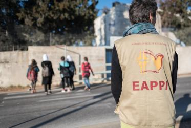 Ecumenical Accompaniers from the WCC EAPPI program offer a peaceful protective presence for Palestinian children as they go to school at Al-Maniya near Bethlehem, West Bank. Photo: Albin Hillert/WCC