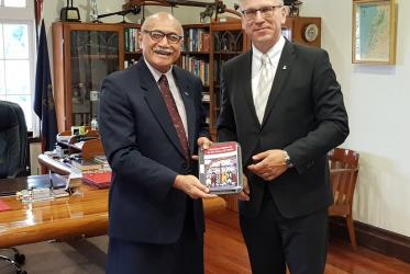 The President of Fiji, His Excellency Major-General (Ret'd) Jioji Konrote receiving a gift from the WCC. Photo: James Bhagwan