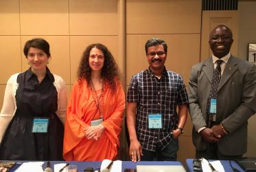 "WCC-EWN coordinator Dinesh Suna (second from the right) spoke as part of a panel on ""Food and Water: Resources of Life"". Photo: WCC"