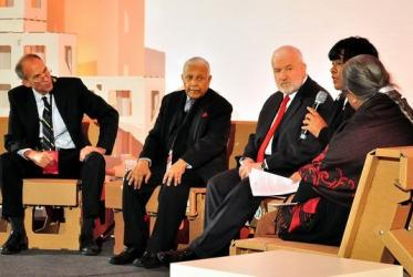 Interfaith panel at ICAN Civil Society Forum; left to right: Jonathan Frerichs, Christopher Weeramantry, Mustafa Ceric, Akemi Bailey-Haynie, Ela Gandhi. © ICAN Austria