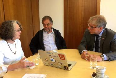 Helena Taliberti and Vagner Diniz during a conversation in Geneva with WCC general secretary Rev. Dr Olav Fykse Tveit. Photo: Odair Pedroso Mateus/WCC