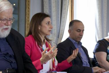 Authors Nayla Tabbara (c), Fadi Daou (r) and translator Alan J. Amos (l) during the book launch at Bossey. ©Marcelo Schneider/WCC