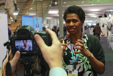 Ms. Frances Namoumou, from the Pacific Conference of Churches, reader of the Interfaith Statement to COP23. ©Marcelo Schneider/WCC