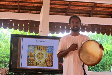 Shakespeare Sigamoney, YATRA participant from India, brought a drum to Siem Reap to signify struggles of Dalits for social justice which, he says, is an integral part of interfaith harmony.