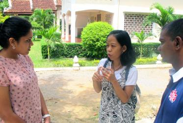 From left to right: Simi Thambi, Manda Andrian and Yohan Krishnakumar, participants in YATRA training, in Siem Reap.