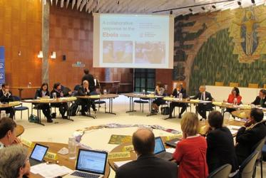 Representatives of Christian organizations and UN in a WCC meeting on Ebola, held in Geneva, Switzerland.